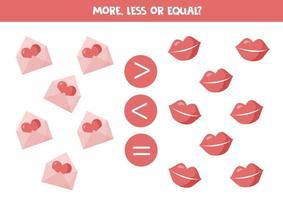 mehr, weniger, gleich mit niedlichen Valentinselementen. Mathe-Spiel. vektor