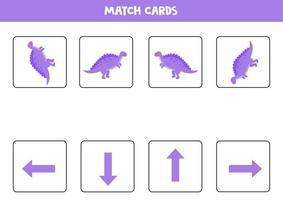 räumliche Orientierung für Kinder mit niedlichen Cartoon-Spinosaurus. vektor