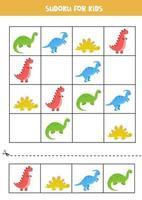 pedagogiskt sudoku-spel med söta tecknade dinosaurier. vektor