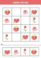 Sudoku-Spiel mit Valentinstag Herz, Umschlag, Rose. vektor