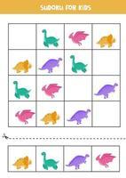 sudoku-spel för förskolebarn. söt uppsättning dinosaurier. vektor