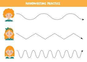 Verfolge die Linien mit süßen Mädchen. Schreibfertigkeiten üben. vektor
