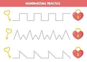Linien mit Valentinselementen verfolgen. Verfolgen Sie die Linien mit Schloss und Schlüssel. vektor