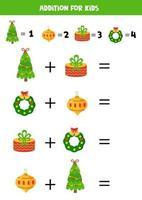Löse die mathematische Gleichung. Cartoon Weihnachtselemente. vektor