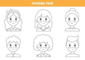 målarbok med flickor och pojkar avatarer. vektor