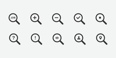 vektor illustration av sök ikonuppsättning
