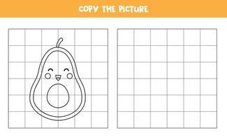 kopiera bilden. söt tecknad avokadofrukt. logiskt spel för barn. vektor