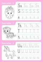 skriva bokstäver s, t, u. spårningssida. kalkylblad för barn. övningsark. lära sig alfabetet. söta karaktärer. vektor illustration. tecknad stil.