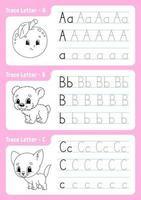 skriva bokstäver a, b, c. spårningssida. kalkylblad för barn. övningsark. lära sig alfabetet. söta karaktärer. vektor illustration. tecknad stil.