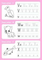 skriva bokstäver v, w, x. spårningssida. kalkylblad för barn. övningsark. lära sig alfabetet. söta karaktärer. vektor illustration. tecknad stil.