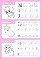 skriva bokstäver d, e, f. spårningssida. kalkylblad för barn. övningsark. lära sig alfabetet. söta karaktärer. vektor illustration. tecknad stil.