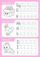 Schreiben von Buchstaben g, h, i. Verfolgungsseite. Arbeitsblatt für Kinder. Übungsblatt. Alphabet lernen. süße Charaktere. Vektorillustration. Cartoon-Stil. vektor