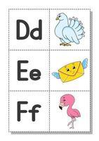 englisches Alphabet mit Comicfiguren d, e, f. Karteikarten. Vektorsatz. heller Farbstil. lerne abc. Klein- und Großbuchstaben. vektor