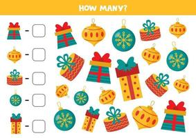 Weihnachtsgeschenke und Kugeln zählen. Mathe-Spiel für Kinder. vektor