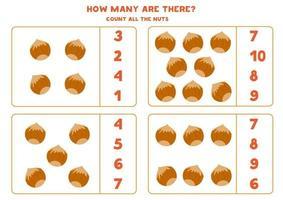 räknar spel med tecknade hasselnötter. pedagogisk matematik kalkylblad. vektor