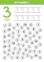 hitta och prick nummer 3. matematikspel för barn. vektor