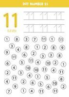 prick eller färg alla siffror 11. pedagogiskt spel. vektor