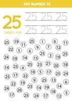 prick eller färg alla siffror 25. pedagogiskt spel. vektor