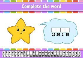 Vervollständige die Wörter Stern. Chiffriercode. Vokabeln und Zahlen lernen. Bildungsarbeitsblatt. Aktivitätsseite für Englisch lernen. isolierte Vektorillustration. Zeichentrickfigur. vektor