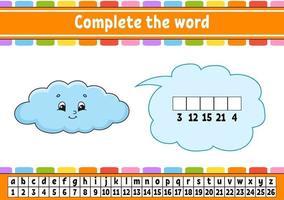 Vervollständige die Wortwolke. Chiffriercode. Vokabeln und Zahlen lernen. Bildungsarbeitsblatt. Aktivitätsseite für Englisch lernen. isolierte Vektorillustration. Zeichentrickfigur. vektor