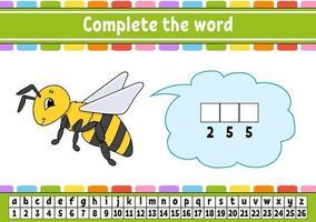 Vervollständige die Worte Biene. Chiffriercode. Vokabeln und Zahlen lernen. Bildungsarbeitsblatt. Aktivitätsseite für Englisch lernen. isolierte Vektorillustration. Zeichentrickfigur. vektor