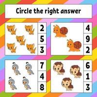 ringa in det rätta svaret. utbildning utveckla kalkylblad. aktivitetssida med bilder. spel för barn. färg isolerad vektorillustration. rolig karaktär. tecknad stil. vektor