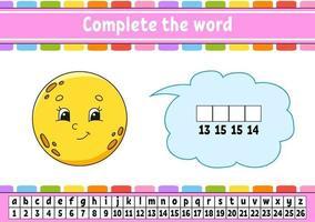 slutföra orden måne. krypteringskod. lära sig ordförråd och siffror. utbildning kalkylblad. aktivitetssida för studie engelska. isolerad vektorillustration. tecknad figur. vektor