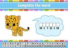 Vervollständige die Wörter Jaguar. Chiffriercode. Vokabeln und Zahlen lernen. Bildungsarbeitsblatt. Aktivitätsseite für Englisch lernen. isolierte Vektorillustration. Zeichentrickfigur. vektor