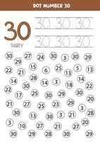 Finde und Punkt Nummer 30. Mathe-Spiel für Kinder. vektor