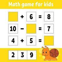 matematik spel för barn snigel. utbildning utveckla kalkylblad. aktivitetssida med bilder. spel för barn. färg isolerad vektorillustration. rolig karaktär. tecknad stil. vektor