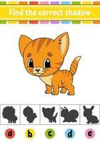 hitta rätt skuggkatt. utbildning utveckla kalkylblad. aktivitetssida. färgspel för barn. isolerad vektorillustration. tecknad figur. vektor