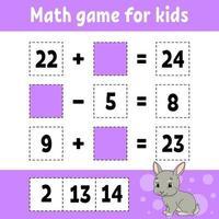 matematikspel för barnkanin. utbildning utveckla kalkylblad. aktivitetssida med bilder. spel för barn. färg isolerad vektorillustration. rolig karaktär. tecknad stil. vektor