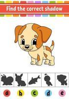 hitta rätt skugghund. utbildning utveckla kalkylblad. aktivitetssida. färgspel för barn. isolerad vektorillustration. tecknad figur. vektor