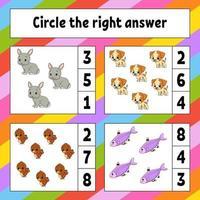 ringa in det rätta svaret. utbildning utveckla kalkylblad. aktivitetssida med bilder. spel för barn. färg isolerad vektorillustration. rolig karaktär. tecknad stil.