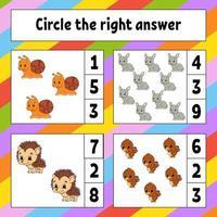 Kreise die richtige Antwort ein. Arbeitsblatt zur Entwicklung von Bildung. Aktivitätsseite mit Bildern. Spiel für Kinder. Farbisolierte Vektorillustration. lustiger Charakter. Cartoon-Stil.