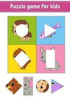 pusselspel för barn. klippa och klistra. skärpraxis. lärande former. utbildning kalkylblad. cirkel, fyrkant, rektangel, triangel. aktivitetssida. tecknad figur. vektor