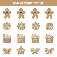 Finden Sie Weihnachtsplätzchen, die sich von anderen unterscheiden. vektor