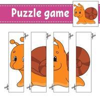 Puzzlespiel für Kinder mit Schnecke. Schneidpraxis. Arbeitsblatt zur Entwicklung von Bildung. Aktivitätsseite. Zeichentrickfigur. vektor