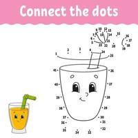 prick-till-prick-spel med juiceglas. dra ett streck. för barn. aktivitet kalkylblad. målarbok. med svar. tecknad figur. vektor illustration.
