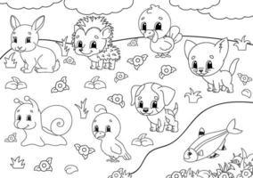 målarbok för barn. djur clipart. glada karaktärer. vektor illustration. söt tecknad stil. svart kontur silhuett. isolerad på vit bakgrund.