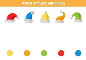 färgmatchningsspel för barn. matcha mössor efter färg. vektor