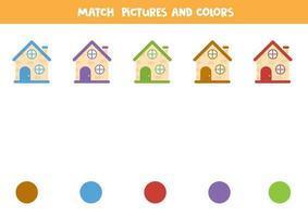 färgmatchningsspel med tecknade hus. kalkylblad för barn. vektor