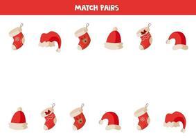 matchande par julstrumpor och hattar. hitta samma. vektor