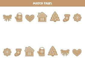hitta par till varje pepparkakakaka. logiskt spel för barn. vektor