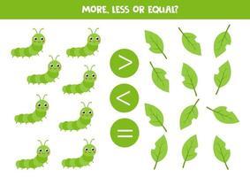 mehr, weniger, gleich mit grüner Insektenraupe. Mathe-Spiel für Kinder. vektor