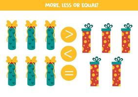 mehr, weniger, gleich mit Weihnachtsgeschenken. Mathe-Spiel für Kinder. vektor