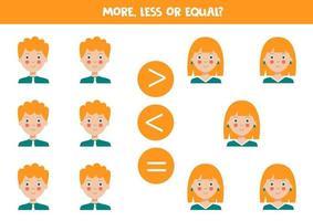 Vergleich für Kinder. mehr, weniger mit Comic-Jungen und Mädchen. vektor