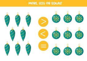 mehr, weniger, gleich mit Weihnachtskugeln. Mathe-Spiel für Kinder. vektor
