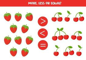 Zähle alle Erdbeeren und Kirschen. Zahlen vergleichen. vektor