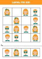 sudoku-pussel för barn med pojkar och tjejer. vektor